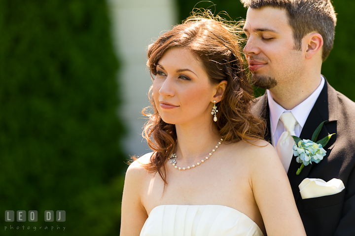 Bride and Groom cuddling together. Ostertag Vistas wedding ceremony photos at Myersville, Maryland by photographers of Leo Dj Photography. http://leodjphoto.com