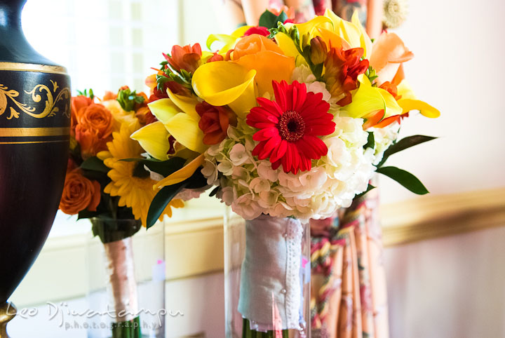 Flower bouquet of bride and maid of honor. Mariott Aspen Wye River Conference Center Wedding photos at Queenstown Eastern Shore Maryland, by photographers of Leo Dj Photography.