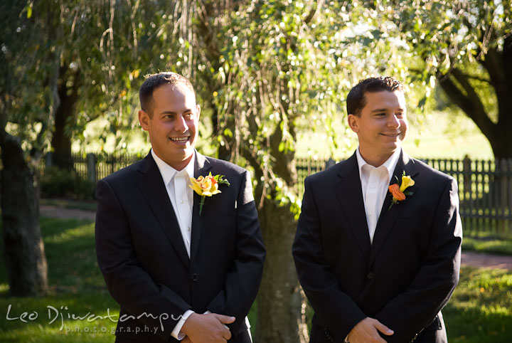 Groom and Best Man smiled looking at Bride walking down the isle. Mariott Aspen Wye River Conference Center Wedding photos at Queenstown Eastern Shore Maryland, by photographers of Leo Dj Photography.