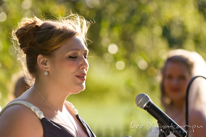 Bride's friend dedicated a song for the couple. Mariott Aspen Wye River Conference Center Wedding photos at Queenstown Eastern Shore Maryland, by photographers of Leo Dj Photography.