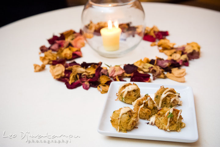 Mini crab cakes finger food appetizer. Mariott Aspen Wye River Conference Center Wedding photos at Queenstown Eastern Shore Maryland, by photographers of Leo Dj Photography.