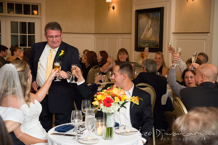 Father of Bride gave toast after introduction speech. Mariott Aspen Wye River Conference Center Wedding photos at Queenstown Eastern Shore Maryland, by photographers of Leo Dj Photography.