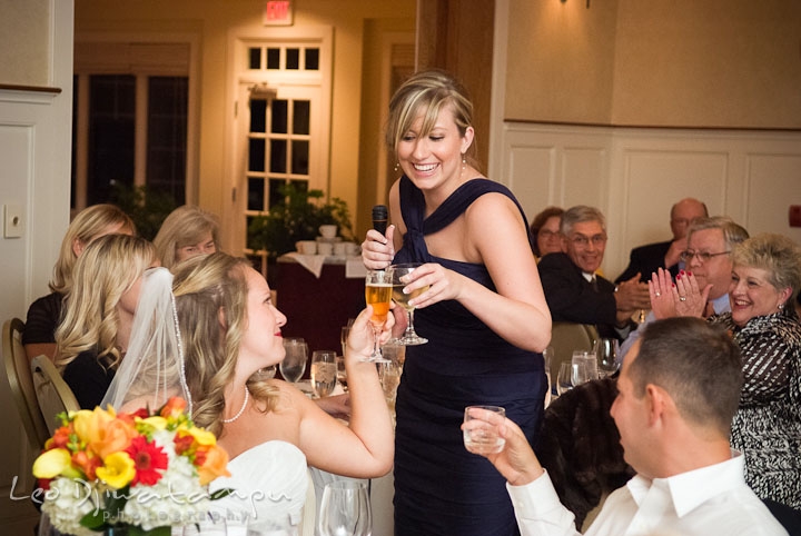 Maid of honor giving toast to Bride and Groom. Mariott Aspen Wye River Conference Center Wedding photos at Queenstown Eastern Shore Maryland, by photographers of Leo Dj Photography.