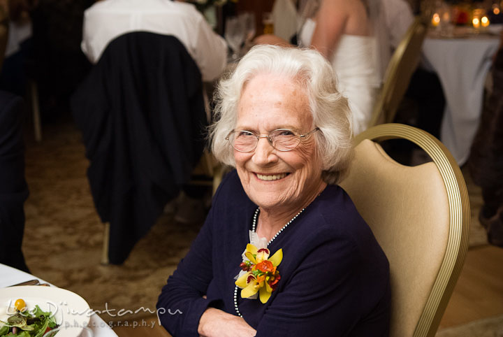 Grandmother of Bride smiling. Mariott Aspen Wye River Conference Center Wedding photos at Queenstown Eastern Shore Maryland, by photographers of Leo Dj Photography.