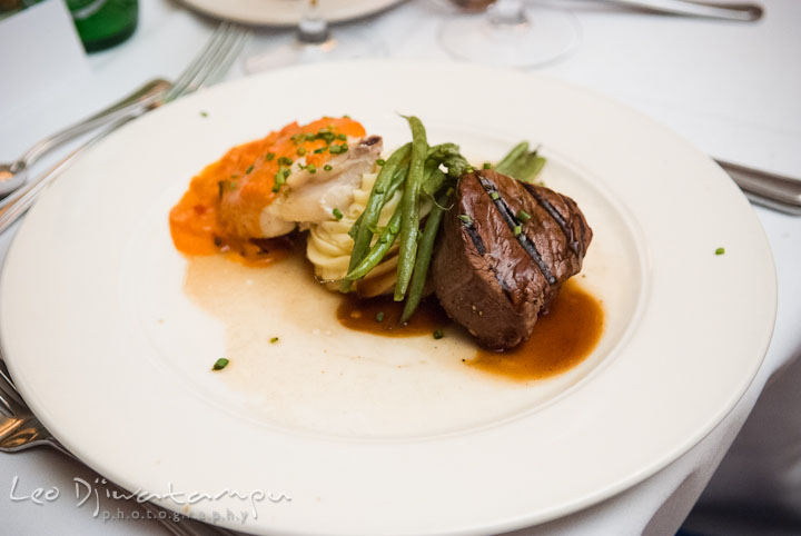 Main course menu with beef steak and salmon. Mariott Aspen Wye River Conference Center Wedding photos at Queenstown Eastern Shore Maryland, by photographers of Leo Dj Photography.