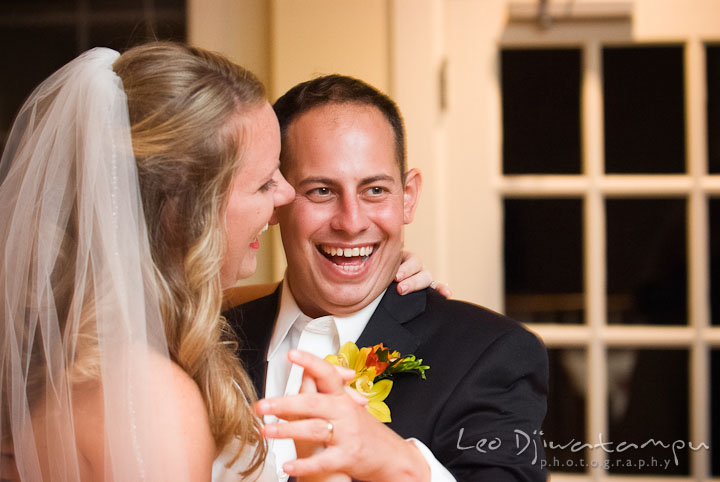Bride and groom laughing during first dance. Mariott Aspen Wye River Conference Center Wedding photos at Queenstown Eastern Shore Maryland, by photographers of Leo Dj Photography.