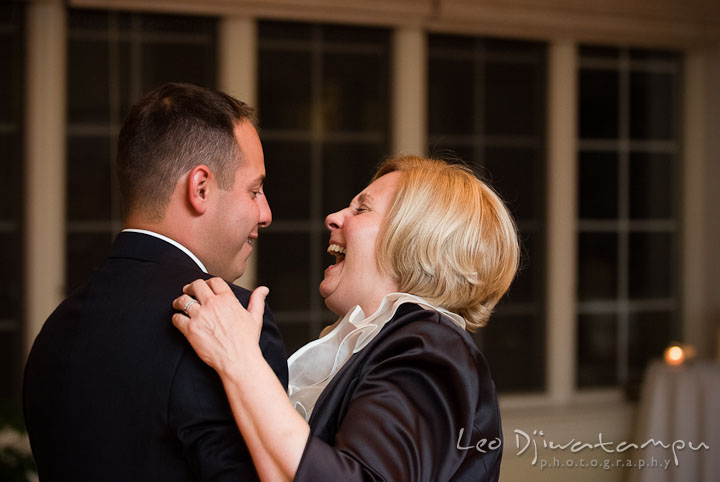 Mother of Groom and son dance. Mariott Aspen Wye River Conference Center Wedding photos at Queenstown Eastern Shore Maryland, by photographers of Leo Dj Photography.
