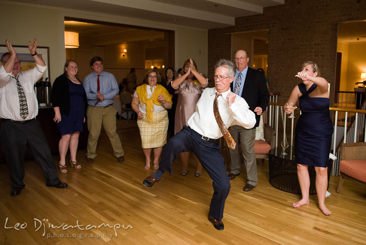 Guest doing wild dance at the reception party. Mariott Aspen Wye River Conference Center Wedding photos at Queenstown Eastern Shore Maryland, by photographers of Leo Dj Photography.