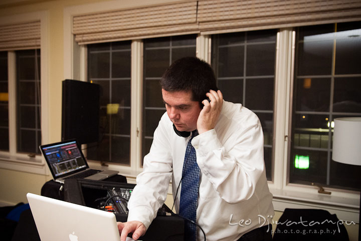 DJ Justin Darling in action. Mariott Aspen Wye River Conference Center Wedding photos at Queenstown Eastern Shore Maryland, by photographers of Leo Dj Photography.