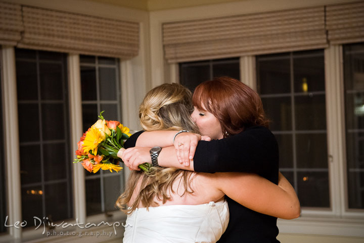 Bride and best friend hugging. Mariott Aspen Wye River Conference Center Wedding photos at Queenstown Eastern Shore Maryland, by photographers of Leo Dj Photography.