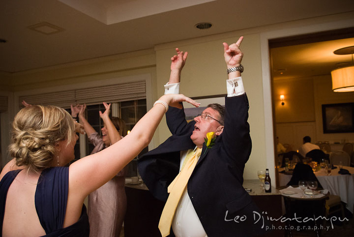 Father of Bride dancing with guests. Mariott Aspen Wye River Conference Center Wedding photos at Queenstown Eastern Shore Maryland, by photographers of Leo Dj Photography.