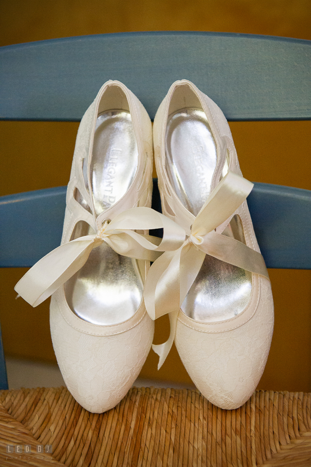 At home backyard wedding Bride shoes photo by Leo Dj Photography