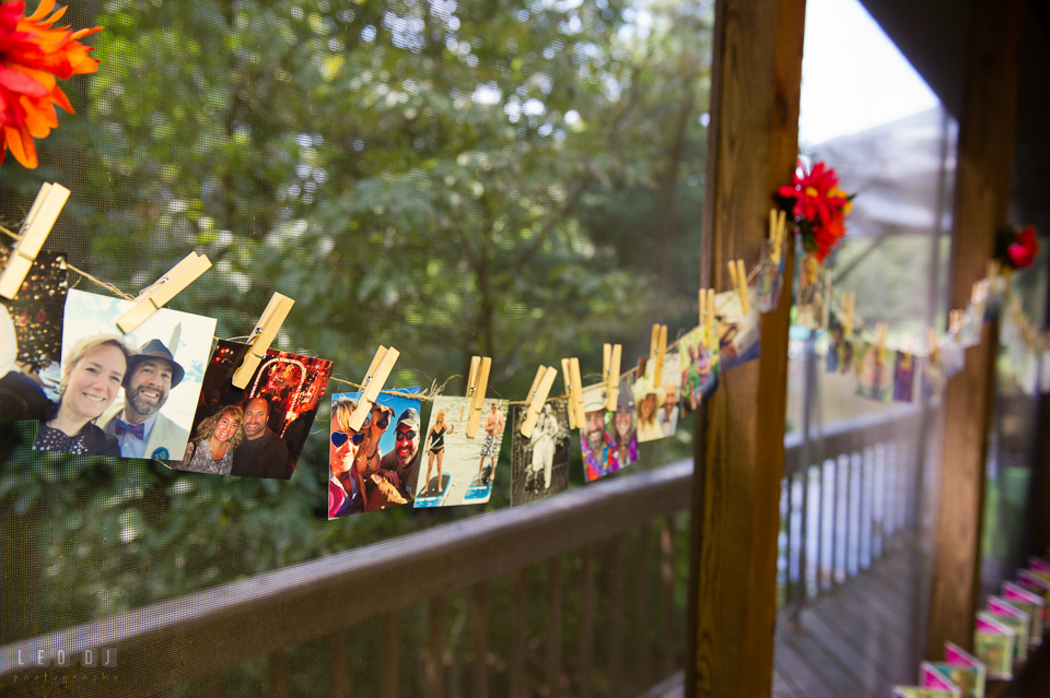 At home backyard wedding Bride and Groom photo display decoration photo by Leo Dj Photography