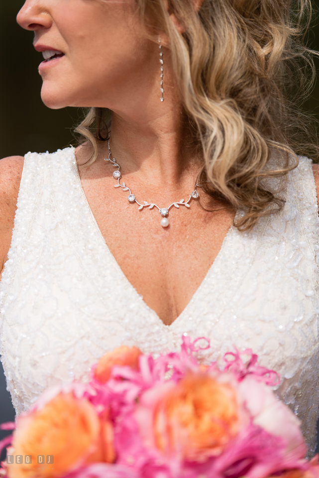 At home backyard wedding close up Bride with necklace photo by Leo Dj Photography