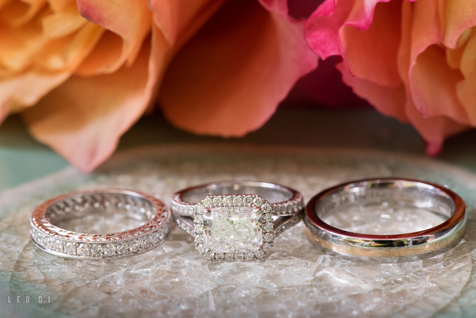 At home backyard engagement ring and wedding bands photo by Leo Dj Photography