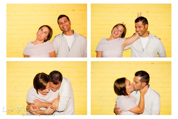 Engaged couple doing photobooth style goofy poses. Candid Old Town Alexandria Virginia Engagement Photography Session by Wedding Photographer Leo Dj