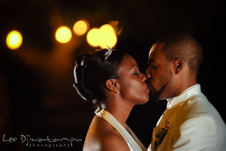 African American bride and groom kissing. Wedding photography at