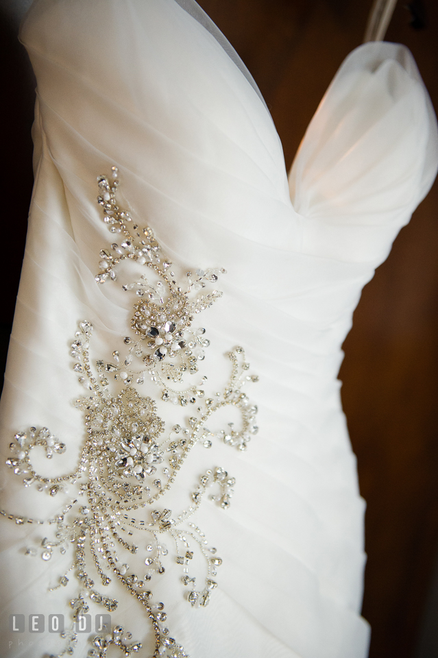 Ornate details on wedding gown by Simone Carvalli from Jeanette's Bridal. Falls Church Virginia 2941 Restaurant wedding ceremony and reception photo, by wedding photographers of Leo Dj Photography. http://leodjphoto.com