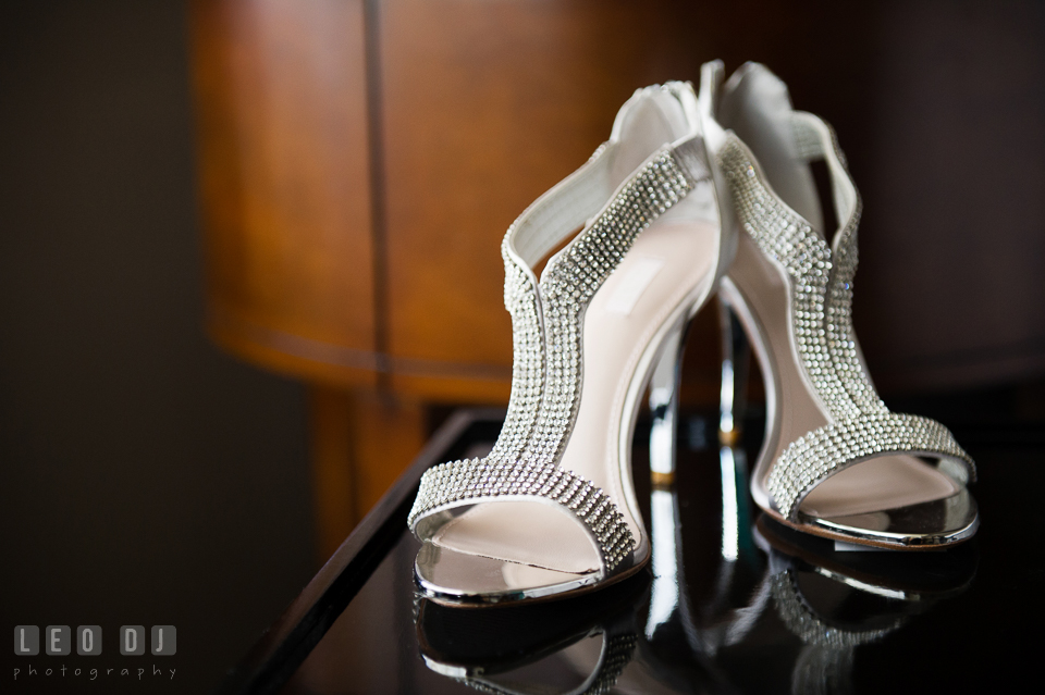 Beaded shoes for the Bride. Falls Church Virginia 2941 Restaurant wedding ceremony and reception photo, by wedding photographers of Leo Dj Photography. http://leodjphoto.com