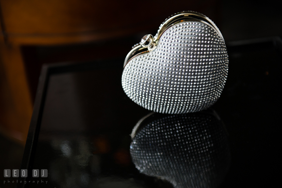 Heart-shaped beaded purse for the Bride. Falls Church Virginia 2941 Restaurant wedding ceremony and reception photo, by wedding photographers of Leo Dj Photography. http://leodjphoto.com