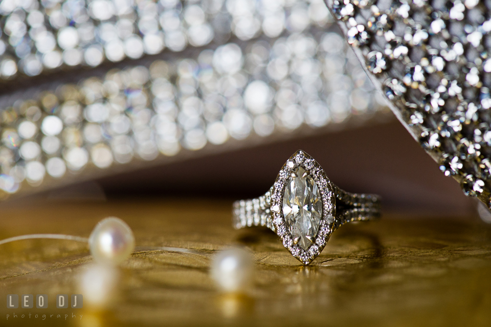Beautiful marquise cut diamond engagement ring. Falls Church Virginia 2941 Restaurant wedding ceremony and reception photo, by wedding photographers of Leo Dj Photography. http://leodjphoto.com