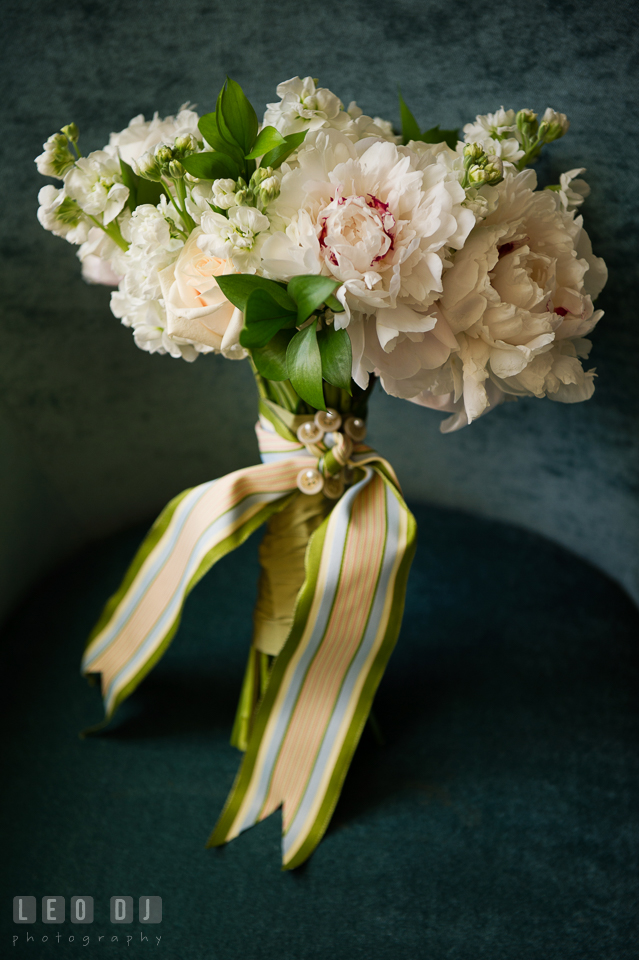 Lovely bridal flower bouquet with peonies from florist Highway to Hill. Falls Church Virginia 2941 Restaurant wedding ceremony and reception photo, by wedding photographers of Leo Dj Photography. http://leodjphoto.com