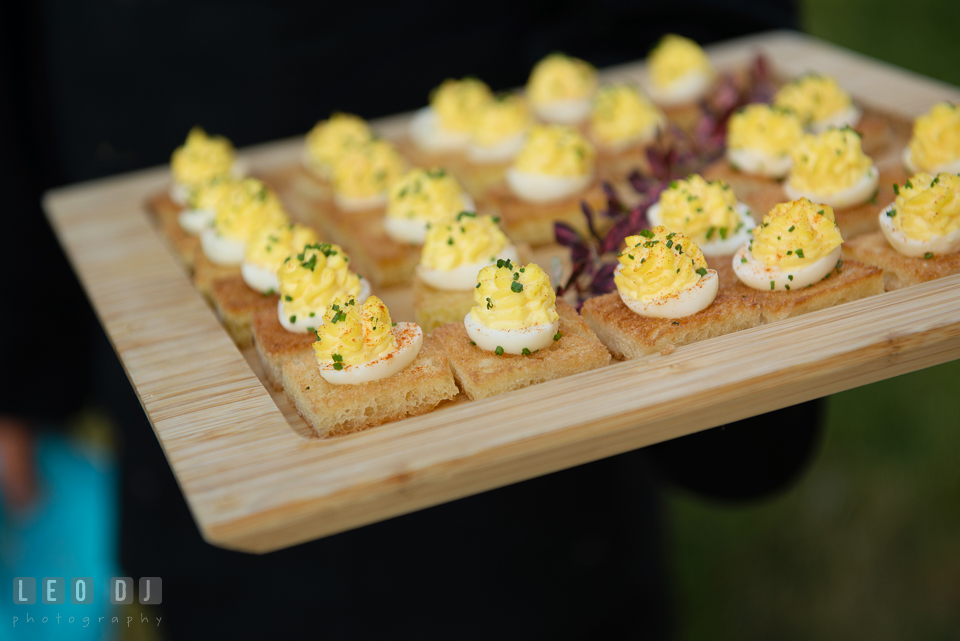Deviled eggs on toast hors d'oeuvres. Falls Church Virginia 2941 Restaurant wedding ceremony and reception photo, by wedding photographers of Leo Dj Photography. http://leodjphoto.com