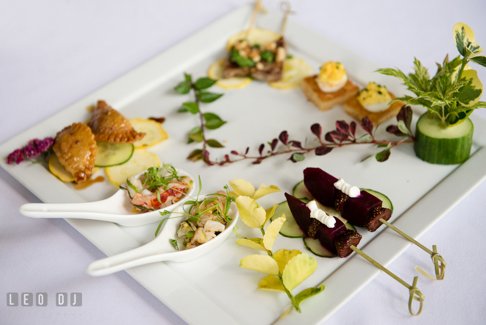 Nicely arranged variety of hors d'oeuvres. Falls Church Virginia 2941 Restaurant wedding ceremony and reception photo, by wedding photographers of Leo Dj Photography. http://leodjphoto.com