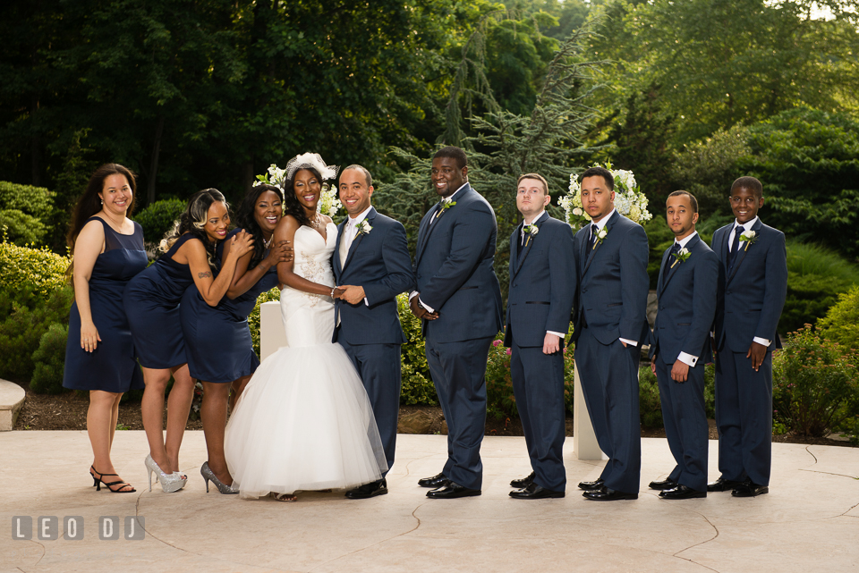 Bride and Groom with the wedding party. Falls Church Virginia 2941 Restaurant wedding ceremony and reception photo, by wedding photographers of Leo Dj Photography. http://leodjphoto.com