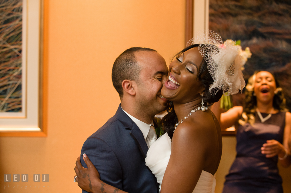 Bride and Groom laughing during their first dance. Falls Church Virginia 2941 Restaurant wedding ceremony and reception photo, by wedding photographers of Leo Dj Photography. http://leodjphoto.com
