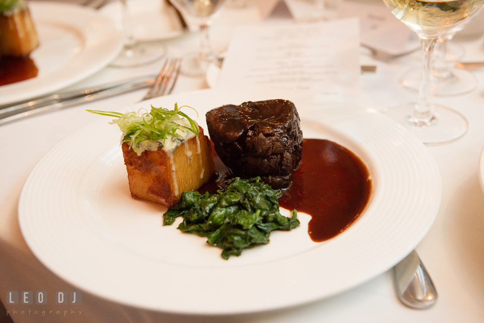 Main course of steak and scallop during wedding reception. Falls Church Virginia 2941 Restaurant wedding ceremony and reception photo, by wedding photographers of Leo Dj Photography. http://leodjphoto.com