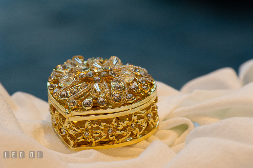 Exquisite wedding gold coin box. Falls Church Virginia 2941 Restaurant wedding ceremony and reception photo, by wedding photographers of Leo Dj Photography. http://leodjphoto.com