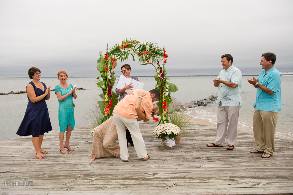Silver Swan Bayside Groom dip kiss Bride at wedding ceremony photo by Leo Dj Photography