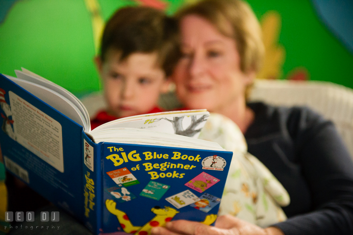 Toddler boy and his Grandmother reading Dr. Seuss book, The Big Blue Book of Beginner Books. Queenstown, Eastern Shore Maryland candid children and family lifestyle portrait photo session by photographers of Leo Dj Photography. http://leodjphoto.com
