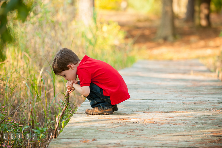 Toddler boy squating on wooden bridge and poking a stick in the mud. Queenstown, Eastern Shore Maryland candid children and family lifestyle portrait photo session by photographers of Leo Dj Photography. http://leodjphoto.com
