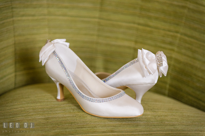 Bride's wedding shoes. The Tidewater Inn Wedding, Easton Maryland, getting ready photo coverage by wedding photographers of Leo Dj Photography. http://leodjphoto.com