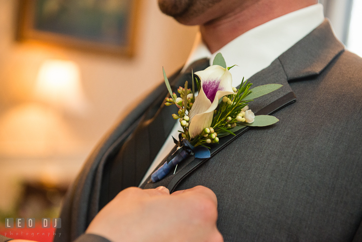 Close up shot of Groom's boutonniere. The Tidewater Inn Wedding, Easton Maryland, getting ready photo coverage by wedding photographers of Leo Dj Photography. http://leodjphoto.com
