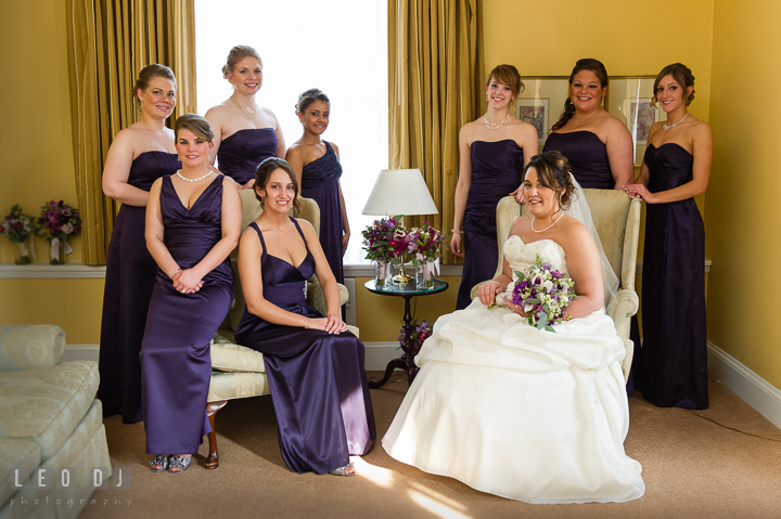 Bride, Maid of Honor and Bridesmaids posing. The Tidewater Inn Wedding, Easton Maryland, getting ready photo coverage by wedding photographers of Leo Dj Photography. http://leodjphoto.com
