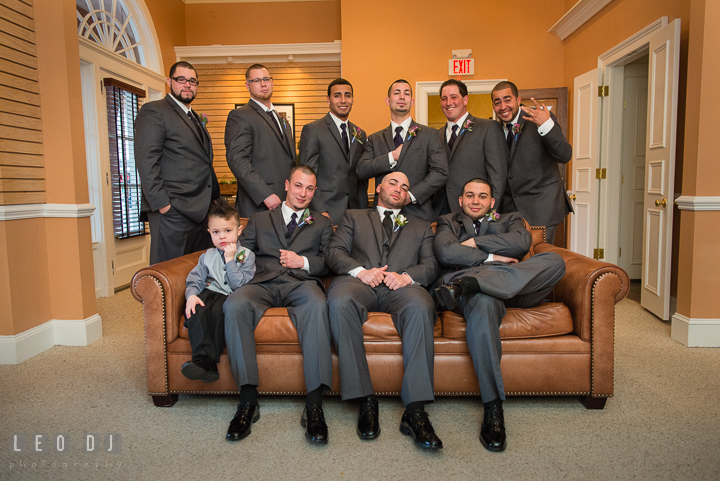 Groom, Best Men, Ring Bearer, and Groomsmen. The Tidewater Inn Wedding, Easton Maryland, getting ready photo coverage by wedding photographers of Leo Dj Photography. http://leodjphoto.com