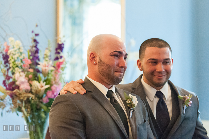Groom emotional seeing Bride the first time in her wedding dress. The Tidewater Inn Wedding, Easton Maryland, ceremony photo coverage by wedding photographers of Leo Dj Photography. http://leodjphoto.com