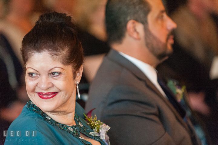 Groom's aunt emotional and smiling during the ceremony. The Tidewater Inn Wedding, Easton Maryland, ceremony photo coverage by wedding photographers of Leo Dj Photography. http://leodjphoto.com