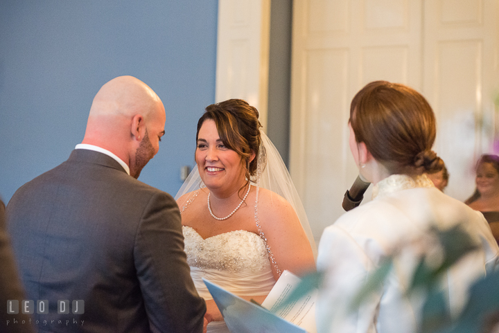 Bride reciting vow. The Tidewater Inn Wedding, Easton Maryland, ceremony photo coverage by wedding photographers of Leo Dj Photography. http://leodjphoto.com