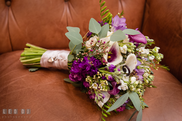 Purple and violet flower bouquet for the Bride by florist Seaberry Farm. The Tidewater Inn Wedding, Easton Maryland, ceremony photo coverage by wedding photographers of Leo Dj Photography. http://leodjphoto.com