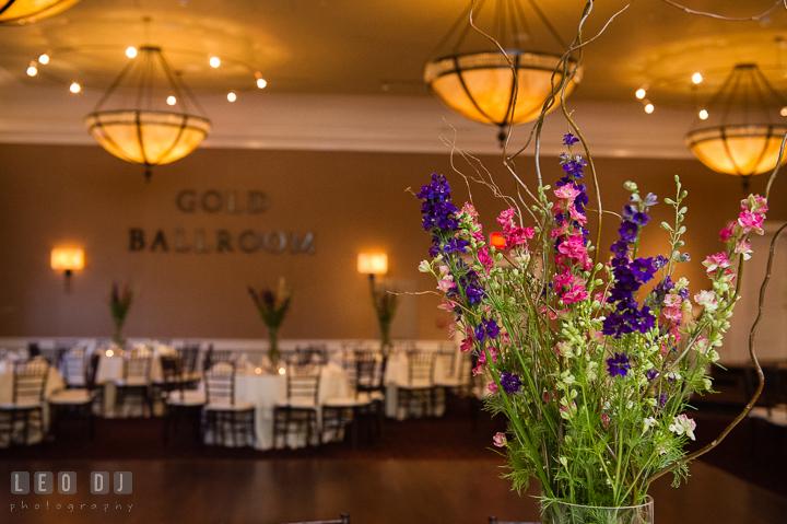 Close up of flower table centerpiece. The Tidewater Inn Wedding, Easton Maryland, reception photo coverage by wedding photographers of Leo Dj Photography. http://leodjphoto.com