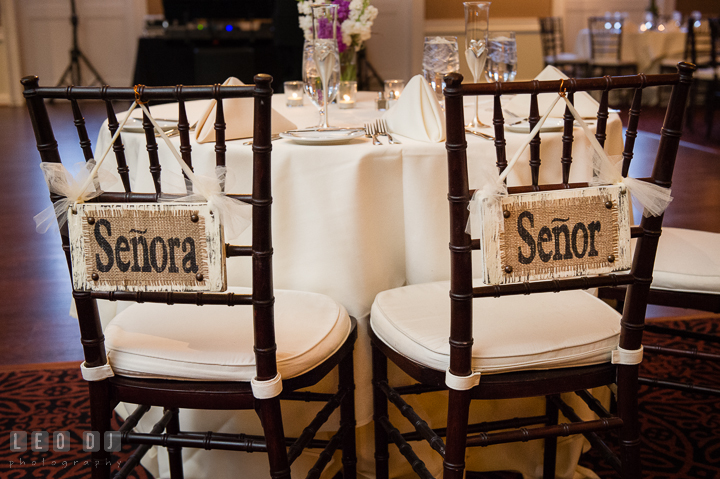 Senora and Senor signs on the sweet heart table chairs. The Tidewater Inn Wedding, Easton Maryland, reception photo coverage by wedding photographers of Leo Dj Photography. http://leodjphoto.com
