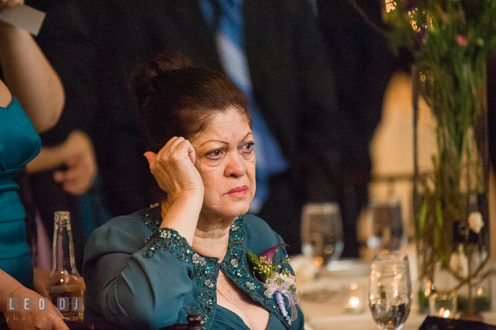 Groom's aunt shed tear as Bride and Groom do their first dance. The Tidewater Inn Wedding, Easton Maryland, reception photo coverage by wedding photographers of Leo Dj Photography. http://leodjphoto.com
