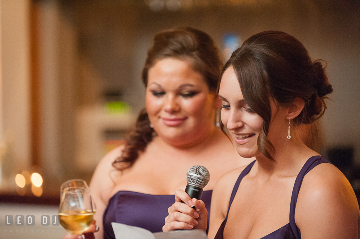 Maid of Honor delivering speech. The Tidewater Inn Wedding, Easton Maryland, reception photo coverage by wedding photographers of Leo Dj Photography. http://leodjphoto.com