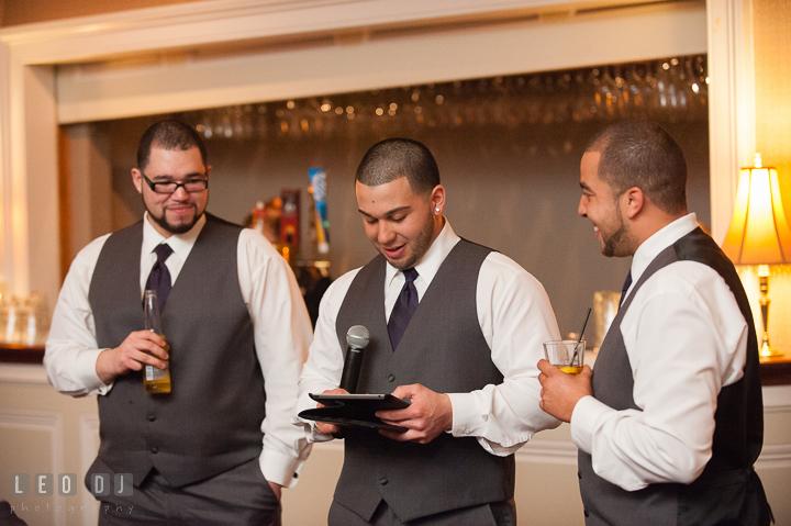 Best Man delivering speech. The Tidewater Inn Wedding, Easton Maryland, reception photo coverage by wedding photographers of Leo Dj Photography. http://leodjphoto.com