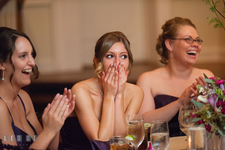 Bridesmaids laughing and emotional hearing stories from Best Man. The Tidewater Inn Wedding, Easton Maryland, reception photo coverage by wedding photographers of Leo Dj Photography. http://leodjphoto.com