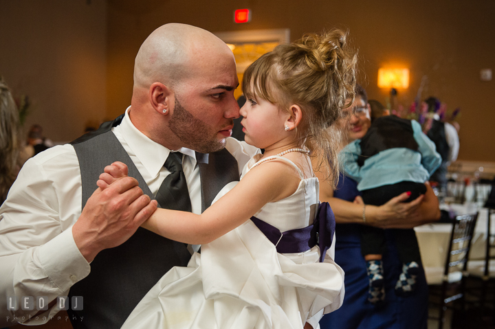 Groom dancing and teasing his daughter. The Tidewater Inn Wedding, Easton Maryland, reception photo coverage by wedding photographers of Leo Dj Photography. http://leodjphoto.com